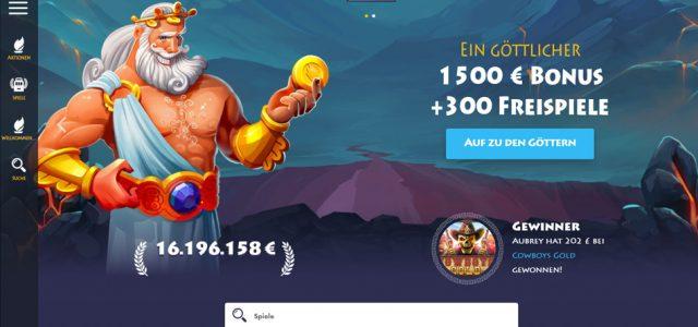 Bonus Putaran Dewa: bonus € 1500 + 300 putaran gratis